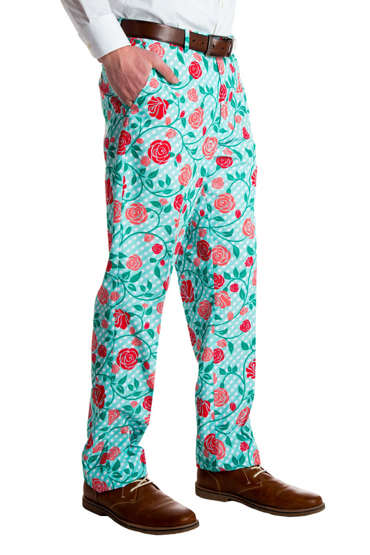 green and roses derby suit pants