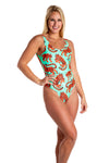 Tiger print one piece swimsuit for women