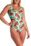 Tropical tiger print swimsuit for women