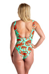 women's orange and blue one piece swimsuit