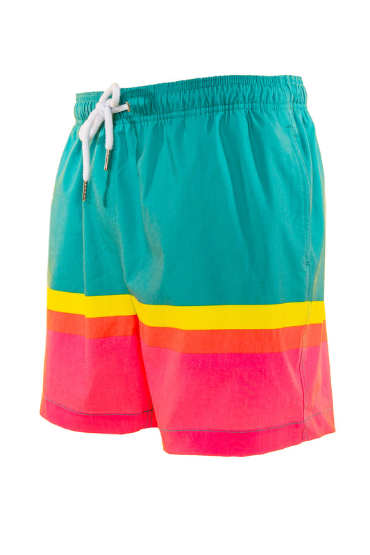 teal and pink retro swim trunks