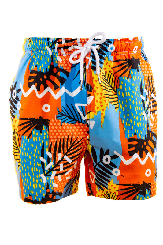 men's orange hawaiian swim trunks