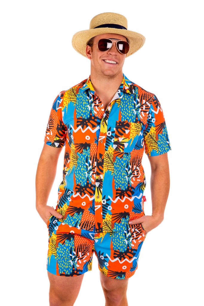 The Do Less | Men's Orange Retro Hawaiian Cabana Set