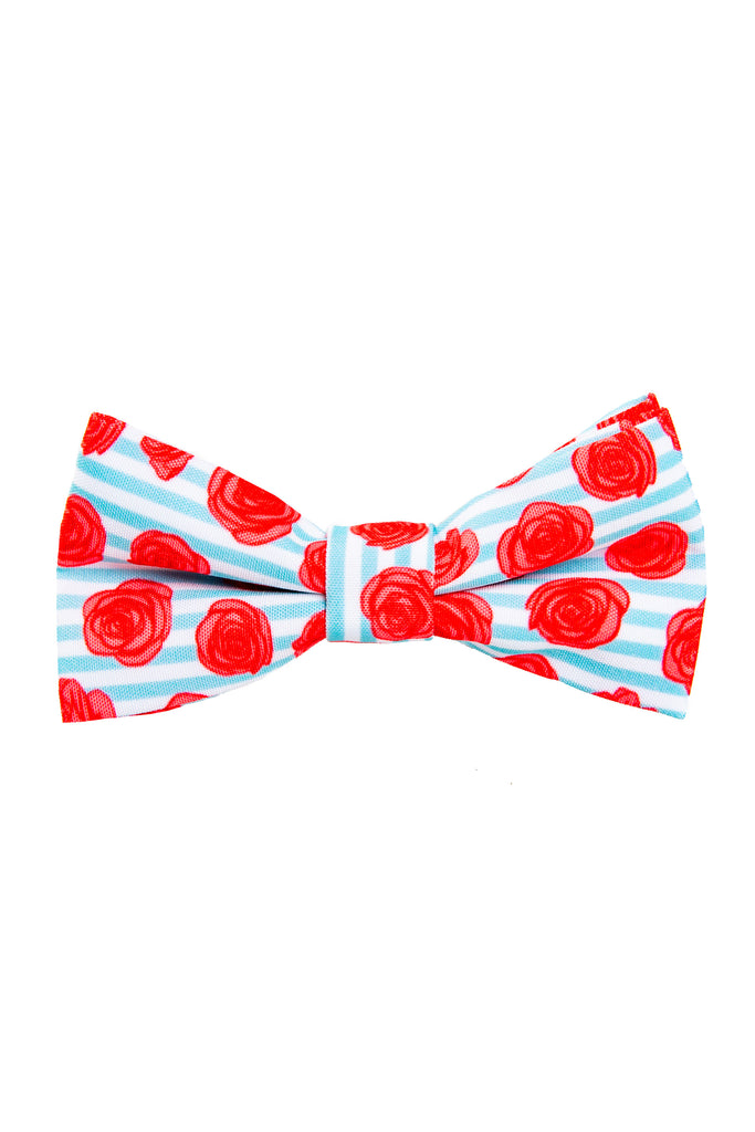 The Rose Me Down | Derby Rose And Stripe Bow Tie