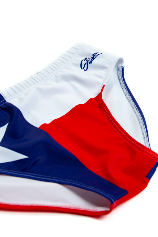 Red, white, and blue lone star swim brief