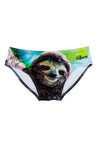 Sloth pattern swim briefs for men