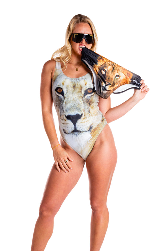 Lion pattern one piece swimsuit