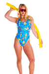 Blue pattern one piece swimsuit