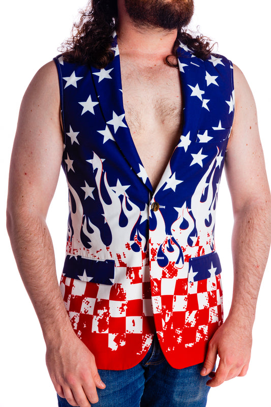 USA theme sleeveless blazer