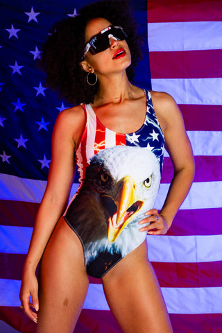 1827c61579 The Decider | Women's USA Flag Eagle One Piece