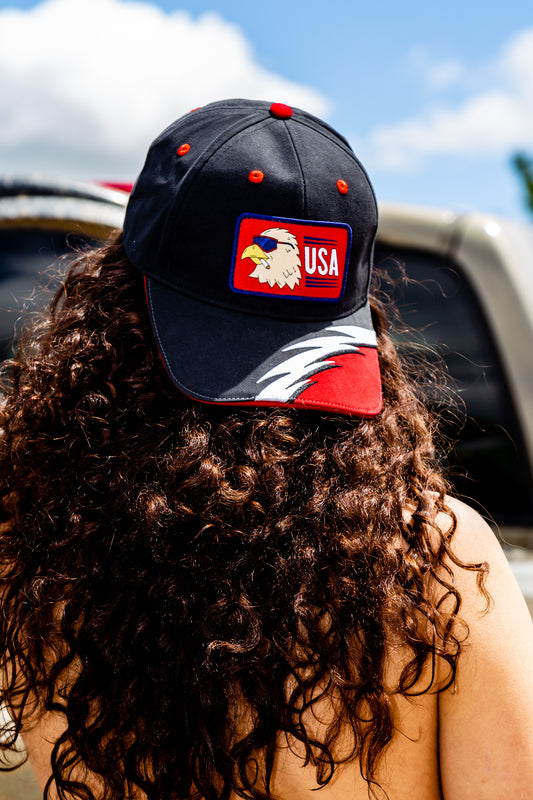 Adjustable eagle patch hat