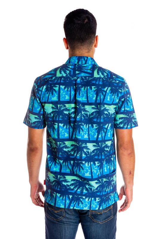 Blue Hawaiian button up shirt