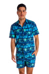 Men's blue button up Hawaiian shirt