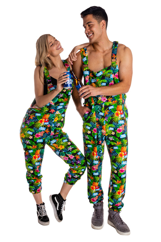 Bud light tropical hawaiian print pajamaralls