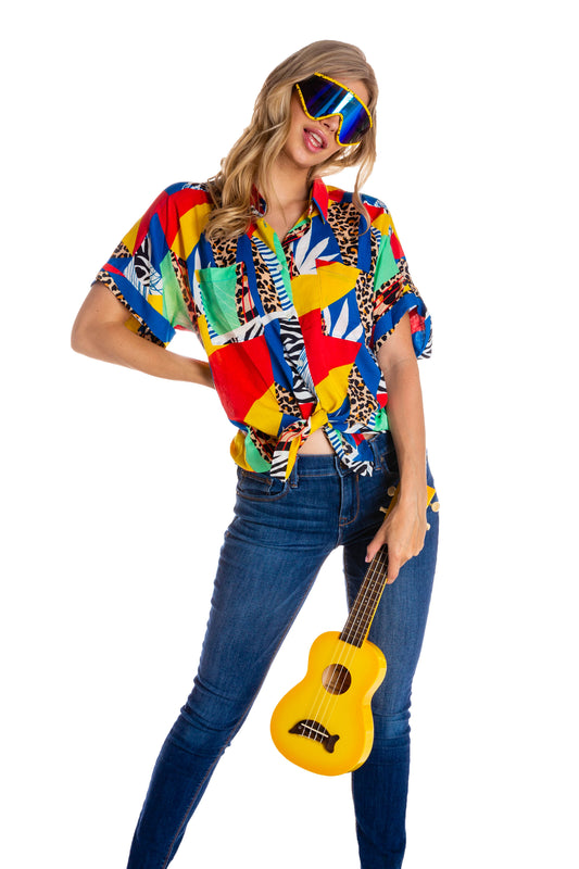 Women's Abstract Mosaic Hawaiian Party Shirt