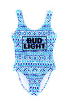 Geometric Bud Light One Piece Swimsuit