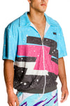 Collared zipper graffiti shirt