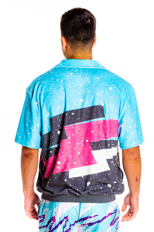 Back side of graffiti zip up short sleeve shirt