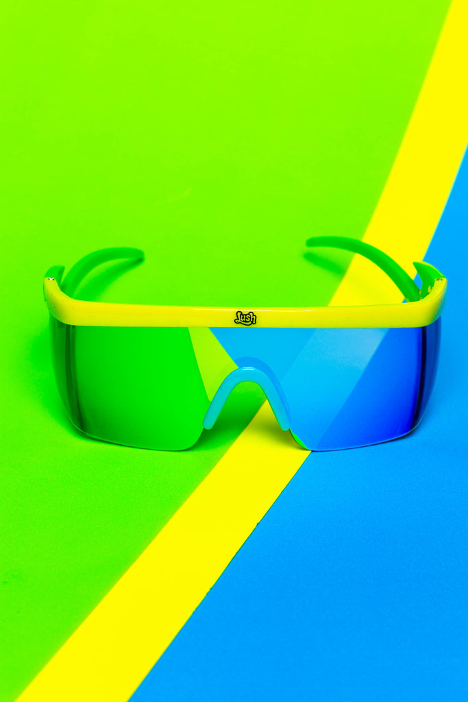 The Shocker | Yellow/Green Frame - Blue Lens Sunglasses