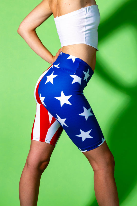 stars and stripes tight shorts for women