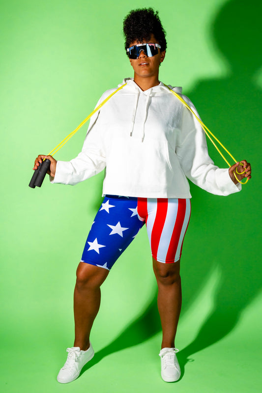 red white and blue bike shorts