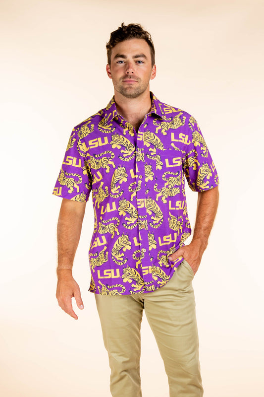 LSU Tigers Button Up Tailgating Shirt
