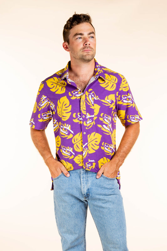 Men's LSU Hawaiian Game Day Shirt