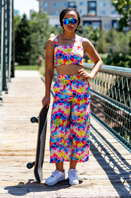 Tie Dye Culotte Pants with Matching Crop Top