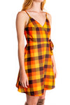 orange plaid  thin strap wrap dress for women