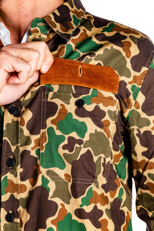 Camouflage party shirt pocket detail
