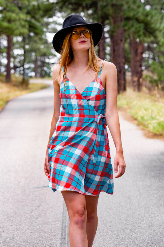red blue and white plaid wrap dress