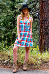Plaid red and blue wrap dress