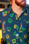 St. Patrick's Day neon lights button up shirt