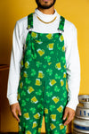 Green patterned st. Patricks overalls