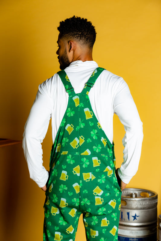 Green beer and clover overalls for guys