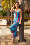 red white and blue jumpsuit for women