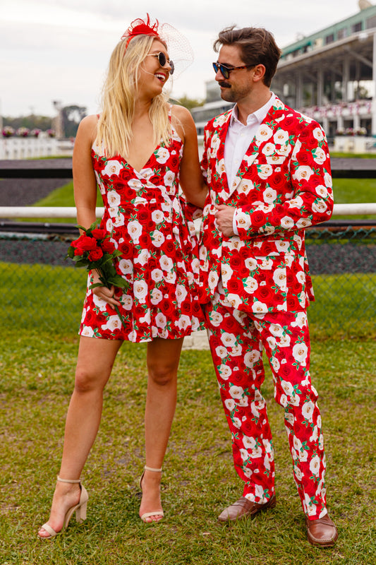 matching red roses derby outfits