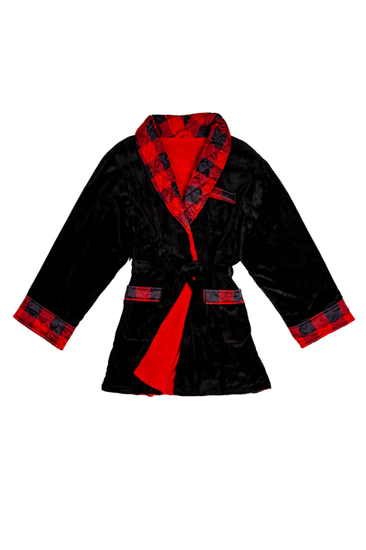 cozy robe red and black