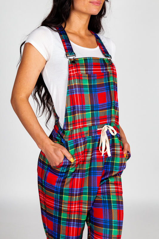 plaid holiday pajamaralls for women