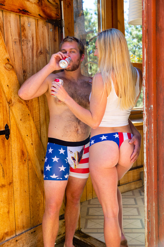 seamless thong with american flag