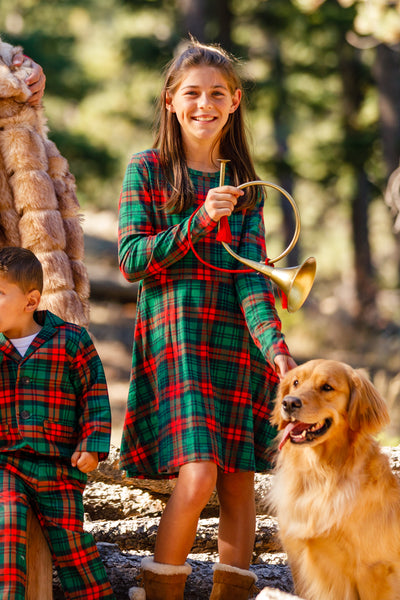 The Lincoln Log Little Lady | Red Green Plaid Girls Christmas Dress