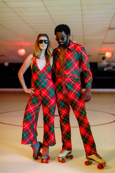 1acafe8b40c Red Green Thermos Plaid Jumpsuit