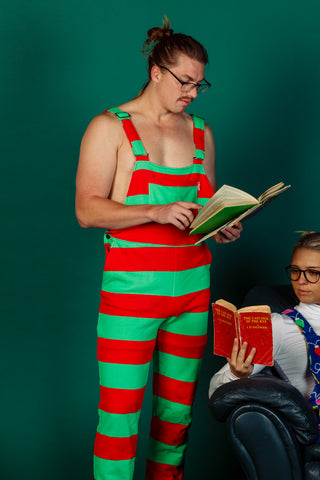 The Christmas Stripe Delight | Unisex Red Green Stripe Pajama Overalls | Pre-Order | Delivery late November 2018