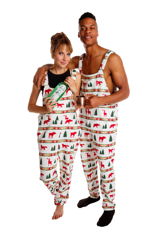 holiday soft pajama overalls