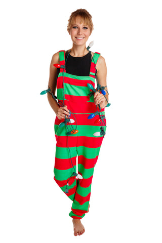 red and green striped christmas pajama overalls