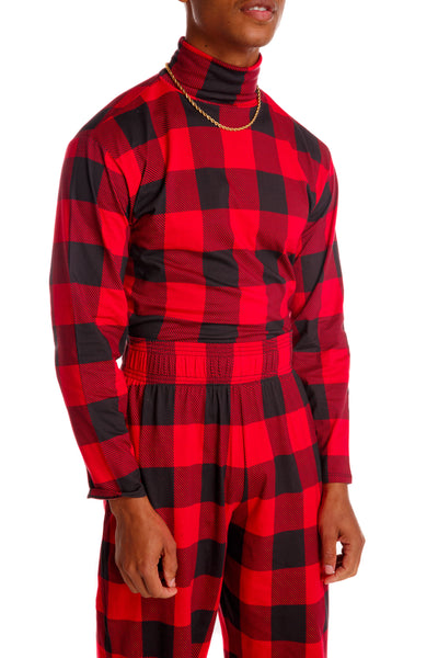 buffalo check fabric turtleneck