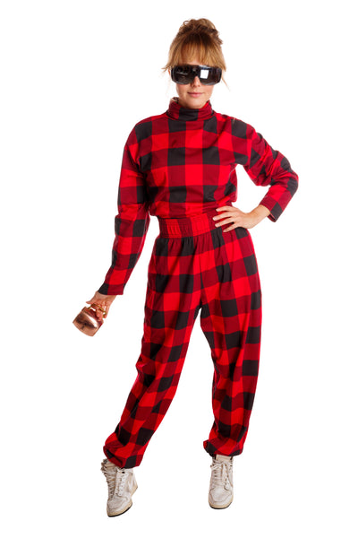 red and black plaid mc hammer pants for women
