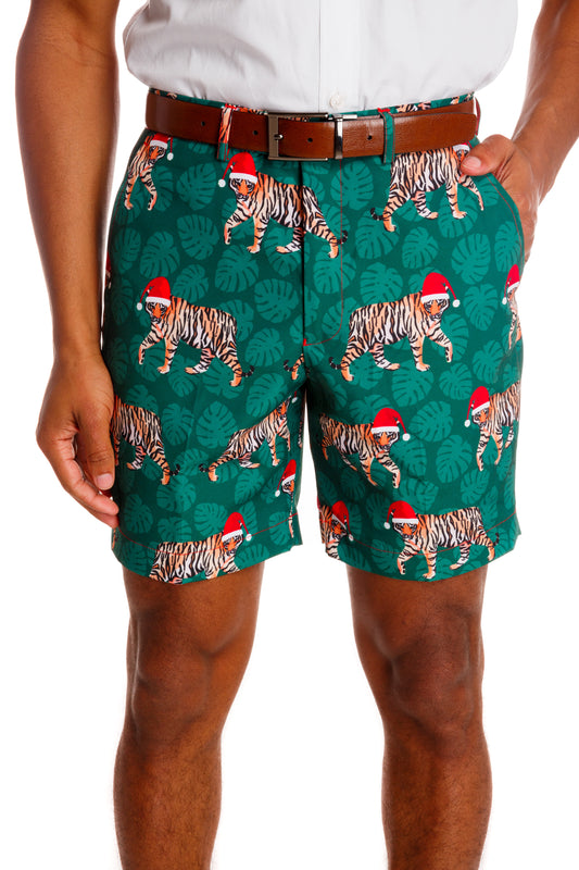 christmas shorts with tiger print