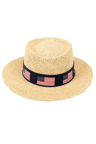 Men's american flag straw hat