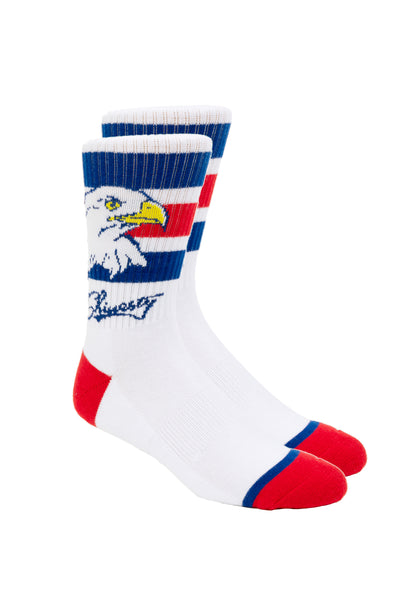 red white and blue bald eagle socks for men